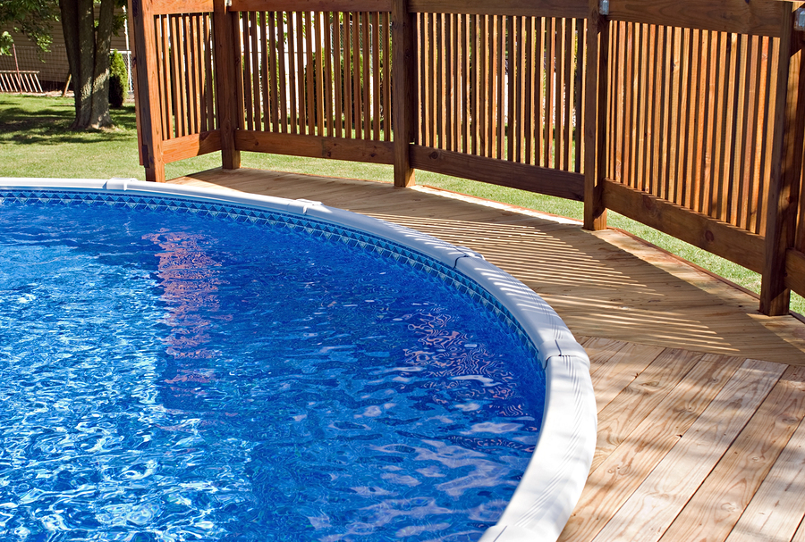 above ground pool privacy fence above ground pools nassau pools and spas - Above Ground Pool Privacy Deck